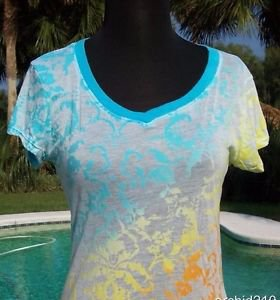 Cache $$$ SUNRISE DIP DYE BURN-OUT TEE Top NWT S/M/L SHEER ILLUSION YUMMY SOFT