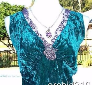Cache $98 CRUSHED GREEN VELVET LAVENDER LACE BEADS CAMI Top NWT XS/S