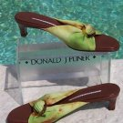 Donald Pliner COUTURE $225 MESH ELASTIC LEATHER SLIDE Shoe NIB BUCKLE DETAIL 6.5