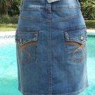 Cache $98 DENIM STUD EMBROIDERY EMBELLISHED Skirt NWT 6/8/10 S/M Stretch STRETCH