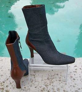 Donald Pliner $295 DENIM BROWN LEATHER Trim Boot Shoe EUC 7.5 MID CALF SIDE ZIP
