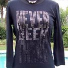 Cache $$$ RHINESTONE NEVER BEEN THERE TEE Top NWT XS/S/M/L/XL STRETCH THINKER