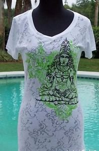 Cache $$$ STRETCH BEAUTY ZEN BUDDAH BURN-OUT TEE Top NWT S/M YUMMY SOFT