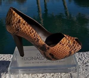Donald Pliner $400 COUTURE PYTHON LEATHER Shoe Pump NIB PEEP-TOE PLATFORM 6 10