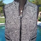 Cache $148 Lined VEST FRONT ZIP Top NWT XS/S/M pLEATHER TRIM BANDED BOTTOM