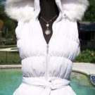 Cache $168 Faux FUR HOODIE VEST JACKET Top NWT QUILTED-DOWN FILLED SELF-BELT