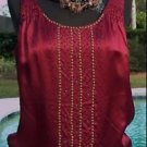 Cache $118 SILK LINED BEAD STUDS EMBELLISHED Top NWT XS/S/M/L BANDED BOTTOM