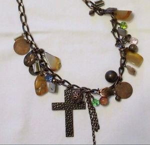 Cache $68 Necklace METAL CHAIN CROSS DISC STONES  BEADS NWT ADJUSTABLE MATCH TOP
