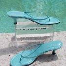 Donald Pliner $175 COUTURE LEATHER Shoe Sandal NIB 9.5 AQUA SHIMER T-STRAP THONG