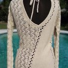 Cache $118 PEEK-A-BOO METALLIC KISSED KNIT DBL V TIE-IN BACK Top NWT XS/S/M/L