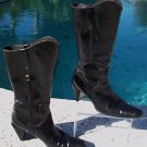 Stuart Weitzman Black Calf Boot Shoe EUC  7.5 Mid Calf Pull on Side Zip Eastern
