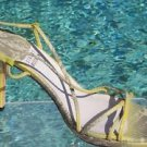 Stuart Weitzman $270 COUTURE LIZZARD LEATHER Shoe Sandal NIB 8 STRAPY SEXY EVENT