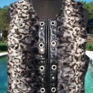 Cache $178 Chinchilla Faux FUR VEST pLEATHER TRIM Top NWT RHINESTONES & GROMMETS