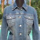 Cache $148 DEMIN LARGE RHINESTONES ON FRONT POCKETS Top JACKET NWT XS/S/M