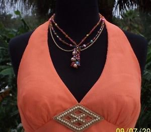 Cache $118 SILK WOOD BEAD EMBELLISHED LINED HALTER Top NWT 0/2/4 XS