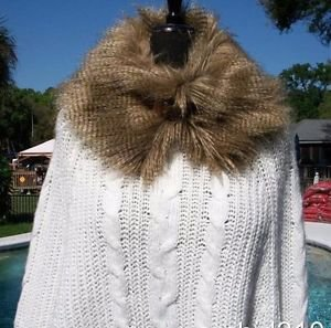 Cache $148 KNIT PONCHO SWEATER NWT XS/S/M STRETCH REMOVABLE Faux FUR COLLAR