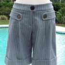 Cache $88 PIN STRIPE DRESS CITY SHORT+ SELF-BELT Pant NWT 0/2/4 XS STRETCH CUFF