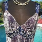 Cache $98 CRUSH Velvet Pearl SEQUIN CAMI Top EUC 8/10/12 Ruched Empire Lined