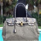 Cache $148 METALLIC SNAKE LEATHER + CANVAS PURSE Top NWT SHOPPER TOTE SHOULDER