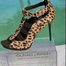 Donald Pliner $325 COUTURE EXOTIC HAIR CALF LEATHER Peep Toe Shoe ELASTIC NEW