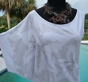 Cache $98 STRETCH 1 DOLMAN 1 SLEEVELESS Top NWT S/M/L METALLIC EMBELLISHED