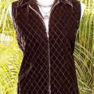 CHICO'S Chicos DESIGN 0 $118 VELVET VEST Top NWT XS/S LIGHTLY QUILTED FRONT ZIP