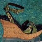 Donald Pliner $250 COUTURE HAND CARVED CORK PITONE LEATHER WEDGE Shoe NIB NIB