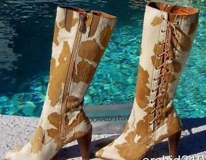 Donald Pliner  $495 COUTURE HAIR CALF LEATHER Boot Shoe NIB 8 FAUX LACE-UP NEW