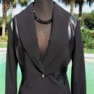 Cache $198 TUXEDO pLEATHER TRIM Top JACKET NWT 2/4/6 LINED CLASSIC BLING