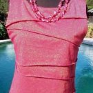 VERVE ami $48 STRETCH Top NWT M RED GOLD METALLIC DRESS UP OR NOT