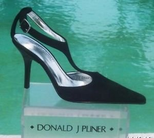 Donald Pliner $350 COUTURE SUEDE LEATHER Pump Shoe NIB T-STRAP CLASSIC SIGNATURE