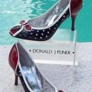 Donald Pliner $295 COUTURE PERFORATED METALLIC PATENT LEATHER Pump Shoe NIB 10