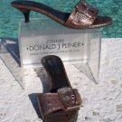 Donald Pliner $250 COUTURE EXPRESSO PEWTER METALLIC GATOR Leather Shoe NEW 8