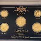 1999 US 24 KT GOLD PLATED 5-COINS SET DOLLAR QUARTER DIME NICKEL AND PENNY