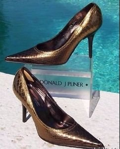 Donald Pliner $295 COUTURE METALLIC GATOR LEATHER Shoe NIB POINTY-TOE PUMP 6 7.5