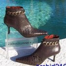 Donald Pliner COUTURE $375 GATOR LEATHER Boot Shoe NIB 10 METAL ANKLE CHAIN