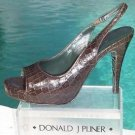 Donald Pliner $275 COUTURE GATOR LEATHER Shoe NIB OPEN TOE PLATFORM SLINGBACK 10