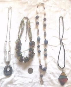 Chicos ICING LOT 4 Necklaces EUC MULTI SIZE SHAPE METAL BEAD TRIBAL ANIMAL