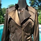 Cache $178 Jacket Top NWT M/L LINED BROWN METALLIC SHEEN ZIPERS DRAWSTRING WAIST