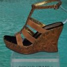 Donald Pliner $295 COUTURE CAMEL SUEDE ROSETTE LEATHER WEDGE Shoe HAND MADE NIB
