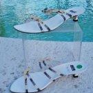Stuart Weitzman Leather Shoe Sandal $225 NIB 8 SILK Straps Stone Embellished
