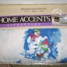 HOME ACCENTS BELK $70 100% Cotton Flannel FULL Sheet Set NWT NIP SNOWMAN WINTER