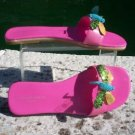 Michael Simon $150 Shoe Slide Sandal EUC 7.5 LEATHER WITH SEQUIN DRAGONFLYS