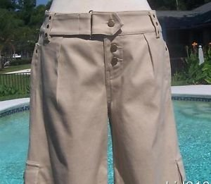 Cache $98 COTTON SPANDEX SAND COLOR CROP GAUCHO Pant NWT 8/10/12 M/L SELF-BELT