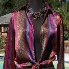 Cache $118 SHRUG WRAP Top NWoT S/M 100% SILK REPTILE PRINT EVENT WORK PARTY