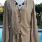 MAX STUDIO $325 LOT 2 Top & Pant EUC TAN COLOR EVENT WORK DRAWSTRING WAIST S/M