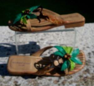 Michael Simon $175 Shoe Slide Sandal EUC 7.5 LEATHER WITH MONKEY TIME PALM TREE