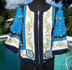 Cache $128 STATUS Top Jacket NWT XS/S STATUS PRINT DRAWSTRING BOTTOM ZIPPER