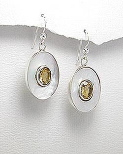 Mother of Pear (Nacre) and Sterling Silver Dangle Earrings