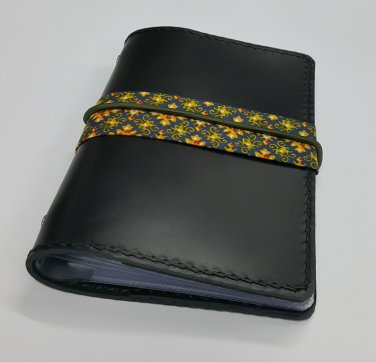ACCOUNT Book Holder 12 slot Black Leather Thai chintz Elastic Band Free shipping